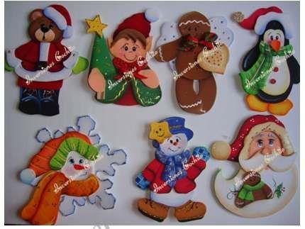 Imanes para la nevera en foami con patrones de navidad for Figuras navidenas para decorar