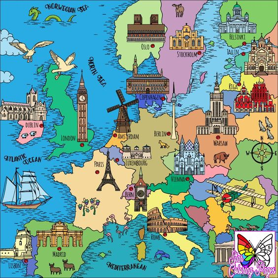 300 Coloring Pages For Grown Ups Places Free And Printable Coloring Book App Coloring Books European Map