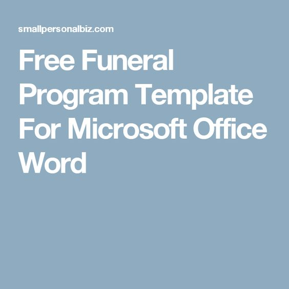 Free Funeral Program Template Microsoft Office Funeral Programs - free funeral template