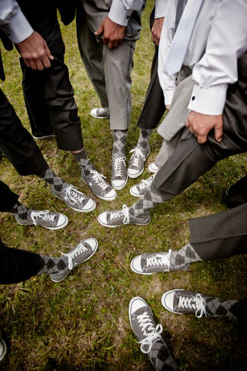 Groom  groomsmen sneakers casual shoes gray black socks. My Big Day Events, Colorado Parties, Weddings, Corporate, Showers  More! http://www.mybigdaycompany.com/