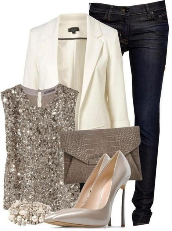 "I don't know how I feel about the sparkle... but I like the idea of a ""pop"" in an otherwise typical outfit:"