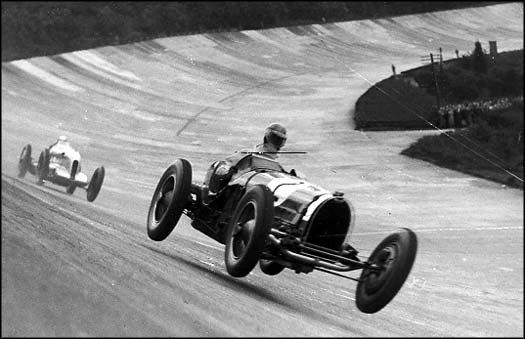 A flying Bugatti at Brooklands