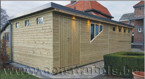 Garages bois toit plat préfabriqués, Garage en bois deux versant.