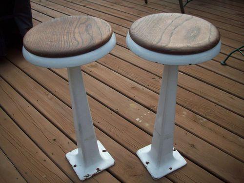Antique Vintage Pair Porcelain Cast Iron Woo Soda Fountain Swiveling Bar Stools