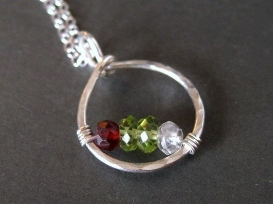 another idea-custom mothers family birthstone necklace CIRCLE OF LOVE made with genuine gemstones