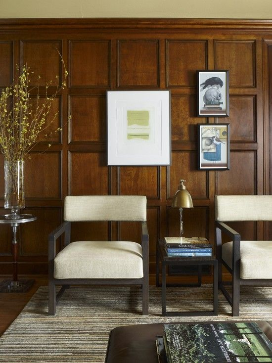 Modish Modular Arts Wall Panels Interior Decorations: Dazzling Contemporary Home Office Design With Unique Beige Armchair And Brown Wooden Modular Arts Wall Panels And Dark Wooden Small Table With Nice Rug And Circle Minotti Table With Wall Decorations Ideas ~ ceradubois.com Interior Inspiration