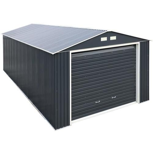 Duramax Building Products Common 12 Ft X 26 Ft Interior Dimensions 10 63 Ft X 24 42 Ft Imperial Metal Garage Galvanized Steel Storage Shed Lowes Com In 2020 Metal Garages Steel Storage Sheds Steel Sheds