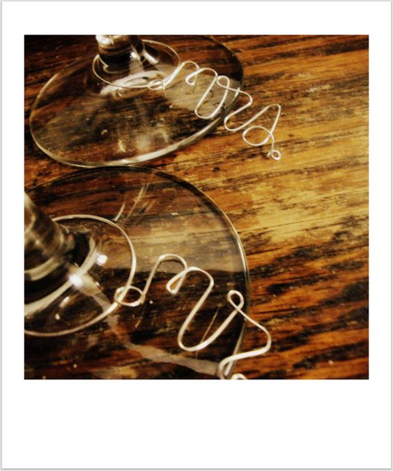 Mr and Mrs Toasting Glass Wire Wine Charms by happinesshomemade, $6.00