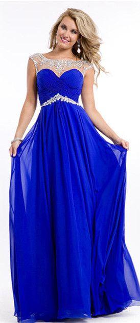 Elegant Royal Blue Beadings Sleeveless Long Chiffon Prom Dress On ...