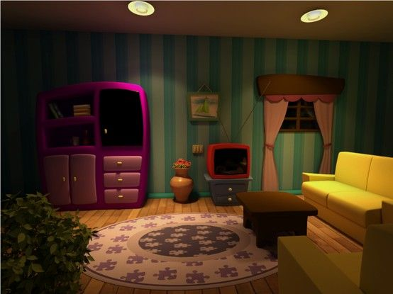 Cartoon stage set and living rooms on pinterest for Cartoon picture of a living room