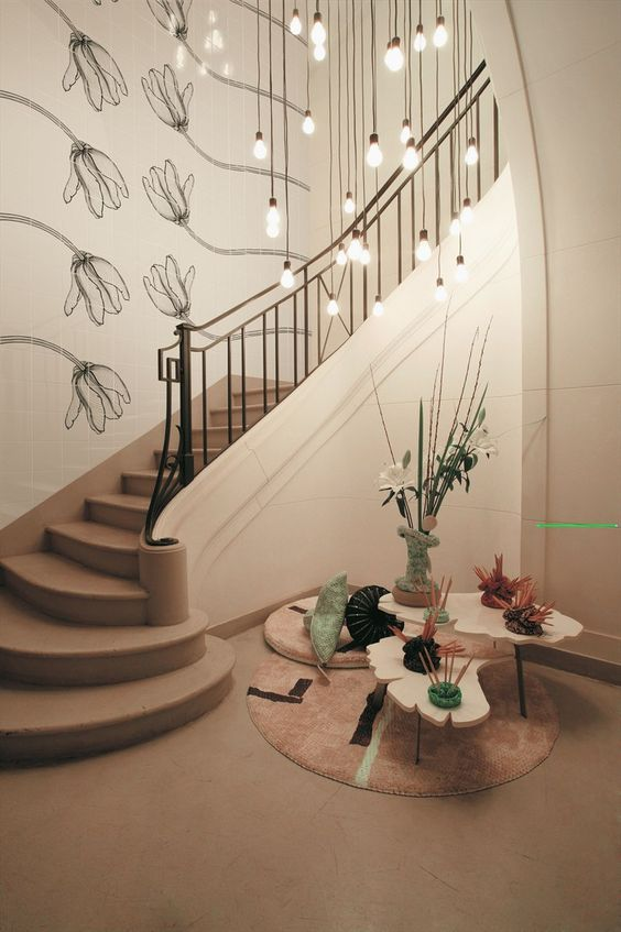 Ceramic wall tiles TULI CHARME by CERAMICA BARDELLI | #Design Ronald Van Der Hilst #stair #flower @Ceramica Bardelli: Hanging Lightbulbs, Design Ideas, Ceramic Bardelli, Beautiful Staircases