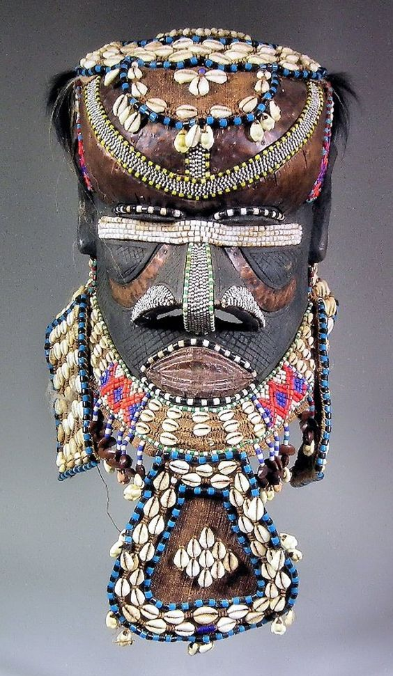 Africa | Helmet mask ~ Moshamambwooy ~ from the Kuba people of DR Congo | Wood, copper panels, glass beads and cowrie shells