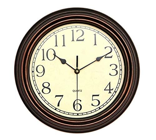 Foxtop 12 Inch Silent Non Ticking Round Classic Clock Retro Quartz Decorative Battery Operated Wall Clock For Living Room Kitchen Home Office Bronze Med