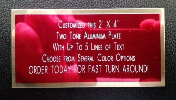 "Engraved Plate 2""x4"" Custom TWO TONE Aluminum Name Plate Tag Plaque Label Gift"