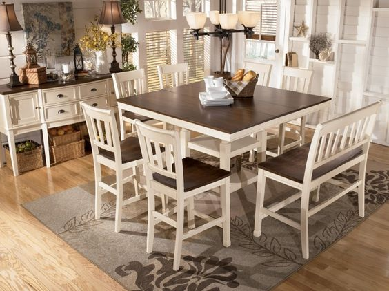 Transitional breakfast room with bar height table white for Whitesburg dining room table