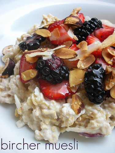 #brefass #summer  Bircher Muesli -- alternate recipe: Half cup oats 1/4 cup milk 1/4 cup water 2 dates, chopped 1 small grated apple 15ml coconut shavings Cinnamon to taste (from http://bit.ly/kuCDsa)