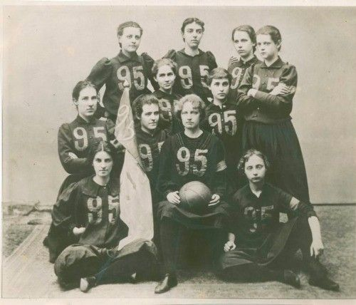 Smith College basketball team in their uniforms, 1895.
