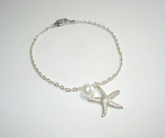 Cute STARFISH PEARL bracelet Pearl beads by DazzlingJewelryBox, $21.00