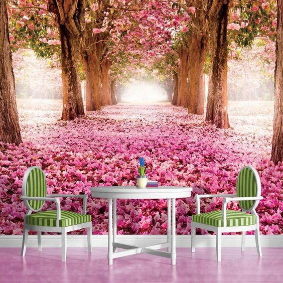 pas cher 3d papier peint arbres de fleurs rose murale personnalis e paysage naturel photo. Black Bedroom Furniture Sets. Home Design Ideas