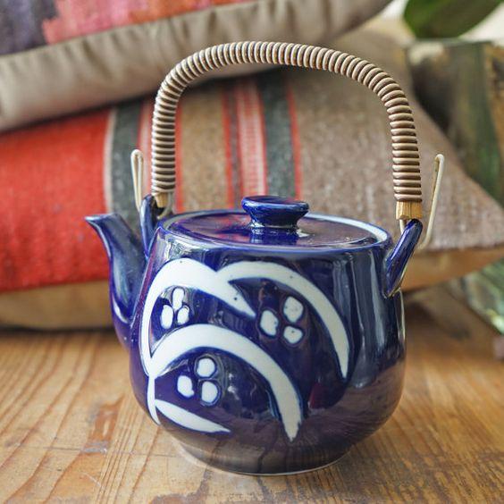 Stunning Cobalt blue ceramic teapot.