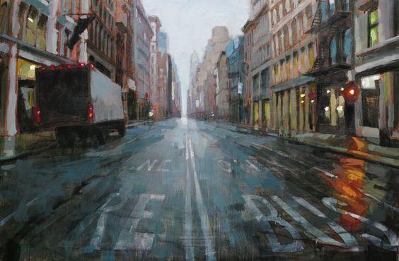 Livraison sur Broadway 146 X 97 cm 2015 huile sur toile Laurent Dauptain