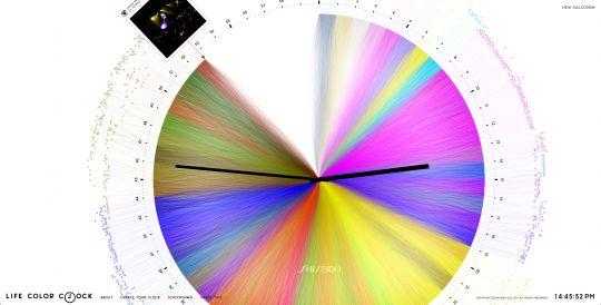 Shiseido, lance Life Color Clock,  un économiseur d'écran branché sur votre Instagram. L'application vous génère alors une horloge toute en couleur. Voila un très façon d'utiliser l'API Instagram.