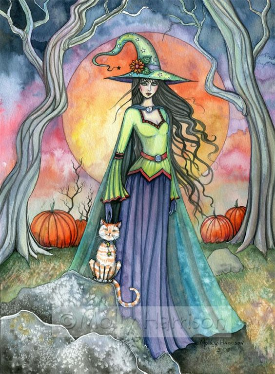 Witch Cat Autumn Fine Art Print by Molly Harrison ':
