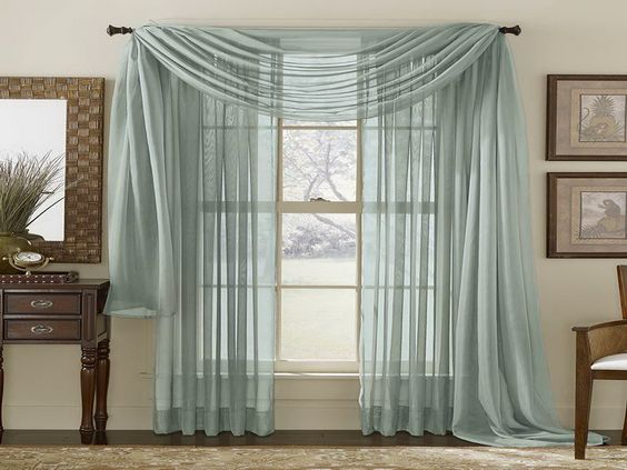 Curtain ideas for large windows pattern grey sheer for Drapes for large windows