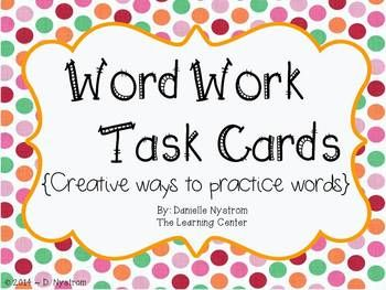 These are task cards for spelling and word work practice. They can be used any way that you would like to use them! These are things that I ...