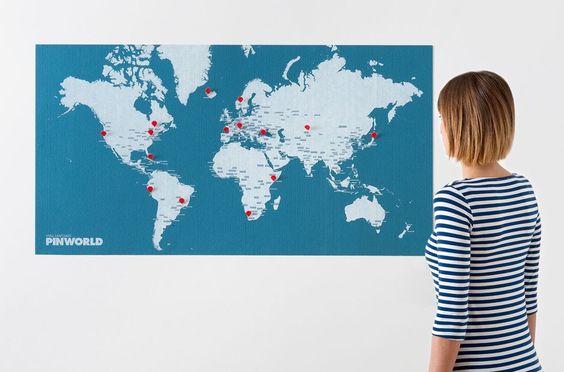 blaue Karte, rote Pins, Verkaufsländer