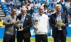 Lleyton Hewitt, Roy Emerson,John McEnroe,Boris Becker; 4 time champs at Queens