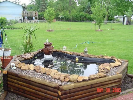 A Different Idea For A Preformed Pond Use Wood Logs Instead Of Paving Stones Gardening
