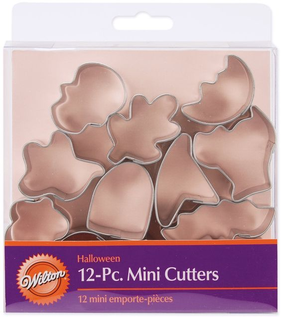 Set of 12 mini cutter set includes pumpkin, skull, witch's hat, tombstone, bat, acorn, cat, house, maple leaf, moon, oak leaf, and ghost.  Just the right size to make bite size snacks. #ShelburneCountryStore - 12-Piece Mini #Halloween #Cookie Cutter Set, $5.95 (http://www.shelburnecountrystore.com/12-piece-mini-halloween-cookie-cutter-set/)