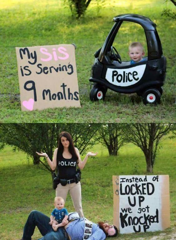 Baby announcement Funny Police Baby Love – Second Child Birth Announcement