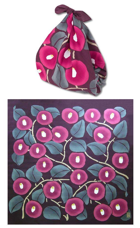 Furoshiki Tropfen Tasche aus Furoshiki Kamelien, rotbraun #Furoshiki