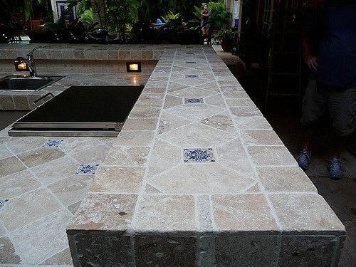 Custom Tile Travertine Outdoor Kitchen Counter Tops Travertine