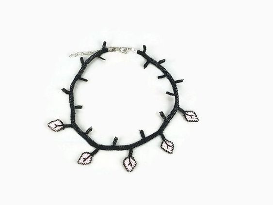 Pink and Black Crocheted Leaves Choker Necklace by Nakkashe