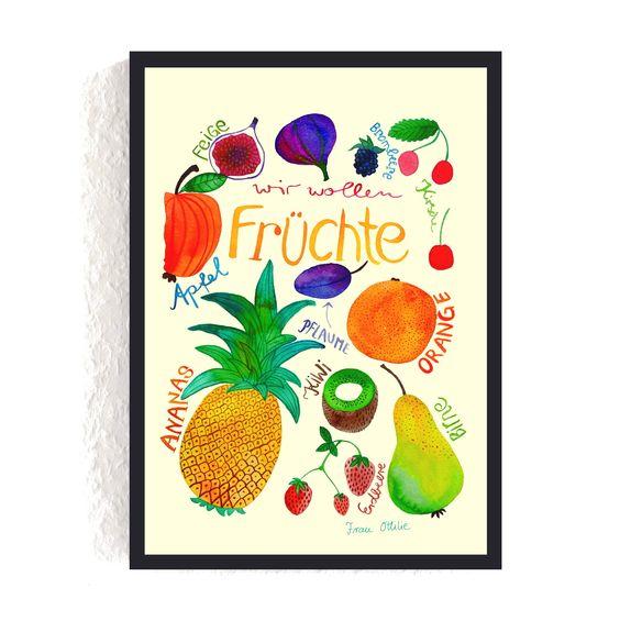 Print *Früchte* #früchte #obst #ananas #orange