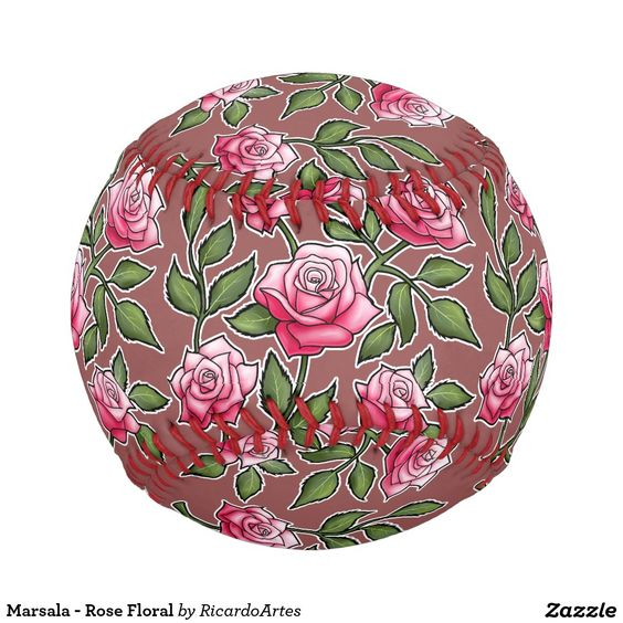 Marsala - Rose Floral Baseballs