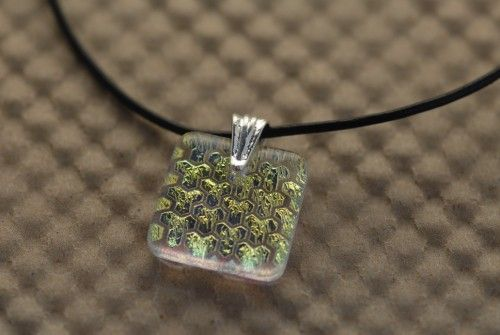 Handmade etched gold dichroic art glass necklace by callidesigns | GrapevineGlassArt - Jewelry on ArtFire