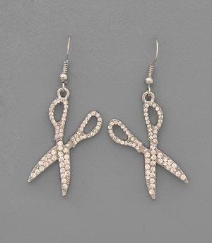 All Bling Scissor Dangle Earrings