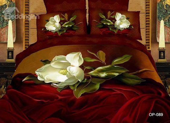 Povlečení hedvábí * rudá barva s bílými šípkovými růžemi ♥