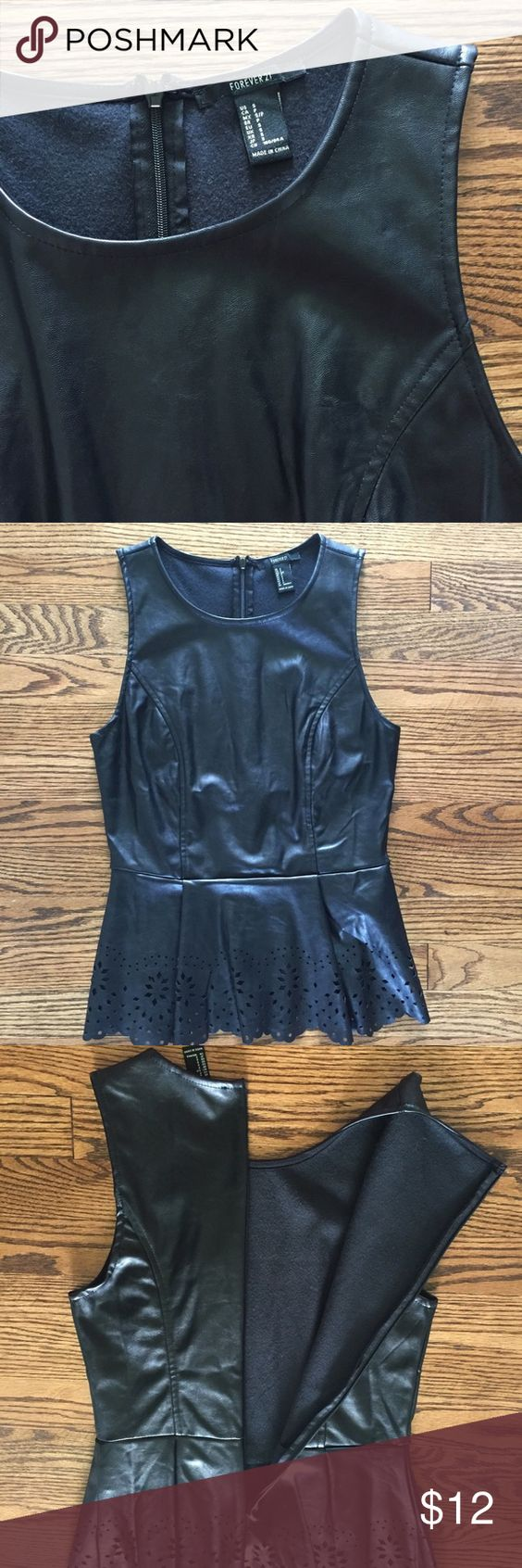 black peplum top black peplum top | faux leather | bottom eyelet detail | back zipper | never worn and in perfect condition! NWOT! Forever 21 Tops