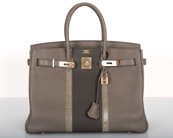 bag hermes - HERM��S Herm��s Limited Edition Tri-Color Etain Clemence & Lizard ...