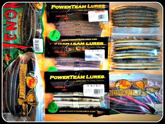 pack containing a deal on 7 bags of soft stick baits including, Soft Baits