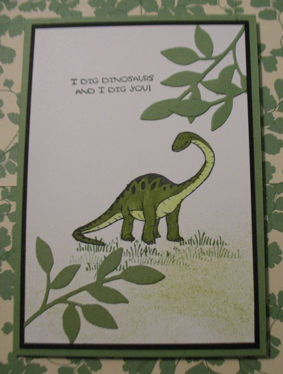 Stampin Up Birthday Cards For Kids ~ Dinosoar card made with dinoroar stamp set from stampin