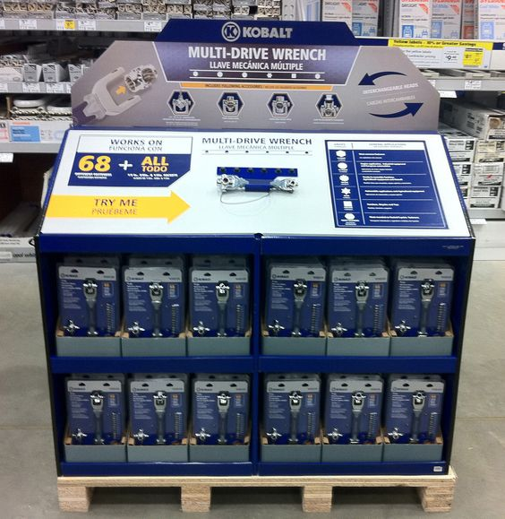 Tool display Temporary POP display Demo feature display Corrugated pallet display Self shipper pallet display Automotive display Product feature display retail pop display pop store display custom point of purchase display merchandising display retail display solution