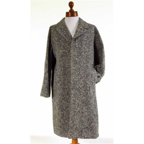 Mens long flecked tweed overcoat coat L - 44R | Mens Overcoats