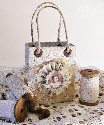 shabby chic tetrapack recycling gift bag