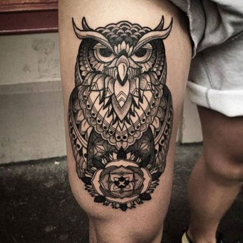 125 Best Owl Tattoos For Men Cool Designs Ideas 2020 Guide Thigh Tattoo Men Mens Owl Tattoo Owl Thigh Tattoos